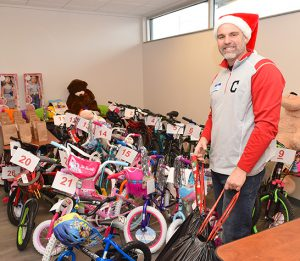 Aaron Frias of Davis-Besse at Toy Distribution