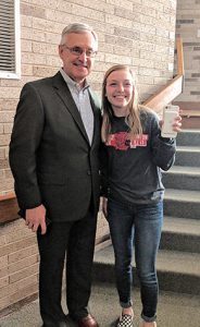 Jim Tressel and Tiffany Strobel at PCHS