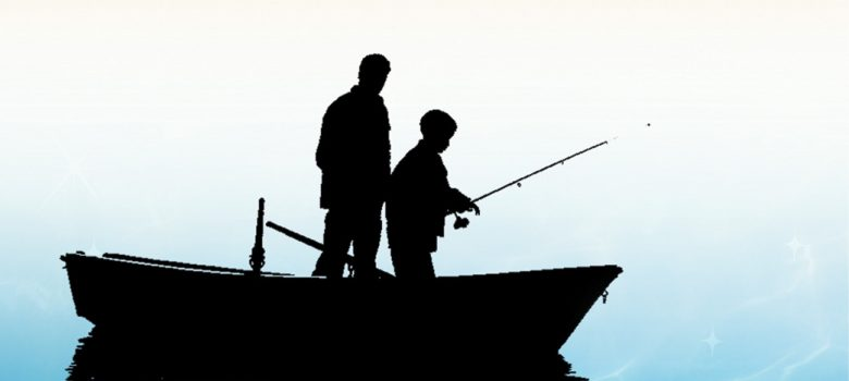 silhouette of two people fishing from a small boat