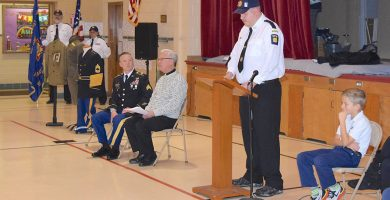 Military veterans sonnered with a special assembly at Immaculate Conception School