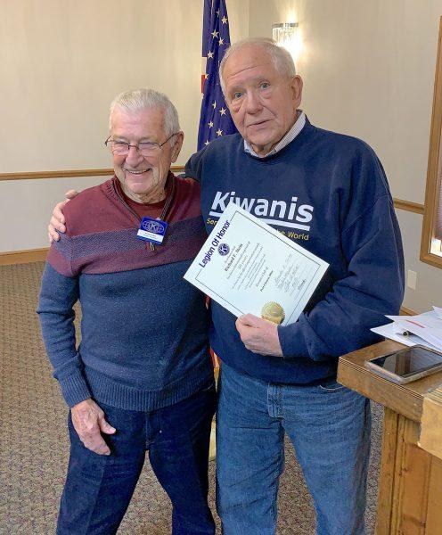 "Carl Koebel presents Kiwanis award to Richard ""Dick"" Stein"