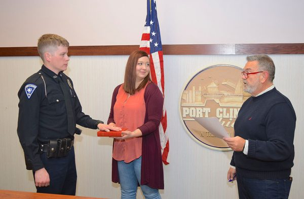 Image of Daniel Miasek being sworn in to the Port Clinton Police Department