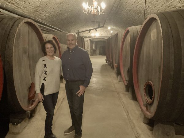 Image of Quintin and Donna Smith in the historic wine cellars at the Mon Ami Historic Restaurant and Winery