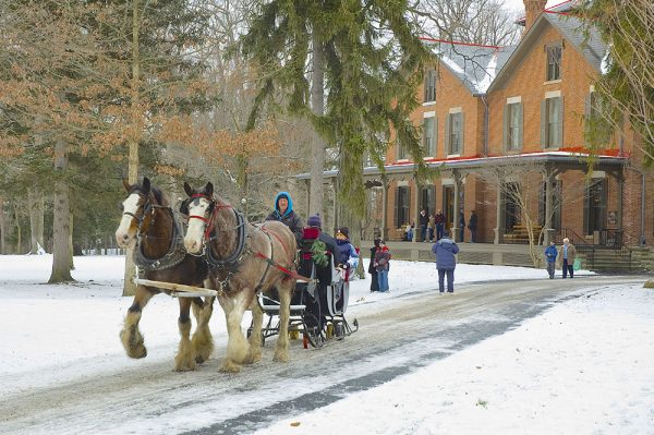 Image of horse-drawn sleigh ride at Spiegel Grove