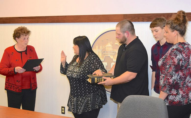 Council-at-Large Roseann Hickman was sworn in by Ottawa County Recorder Virginia Park.