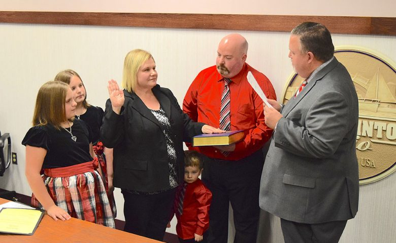 Port Clinton Law Director Dina Shenker was sworn in by Mayor Mike Snider of Port Clinton City Council.