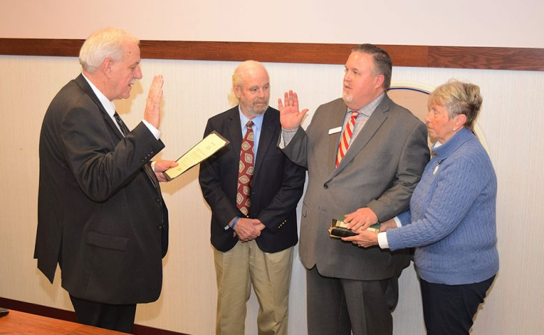 Mayor Mike Snider was sworn in for his first full term as mayor of Port Clinton by judge-elect Louis P. Wargo of Ottawa County Municipal Court.
