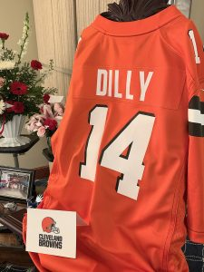Image of a special Cleaveland Browns football jersey created in memory of Harley Dilly
