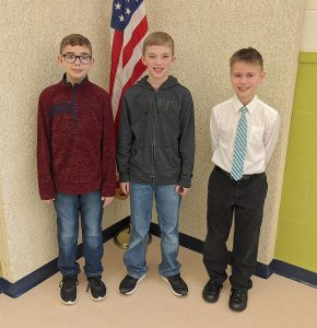 The Bataan Memorial Intermediate School Spelling Bee winners were, left to right, Liam Coppeler (third), Trevor James (first), and Gabe Depner (second).