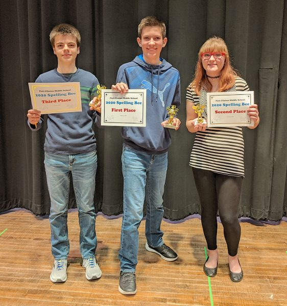 Image of Spelling Bee winners Bryce James, Sarah Borton, and Carson Miller