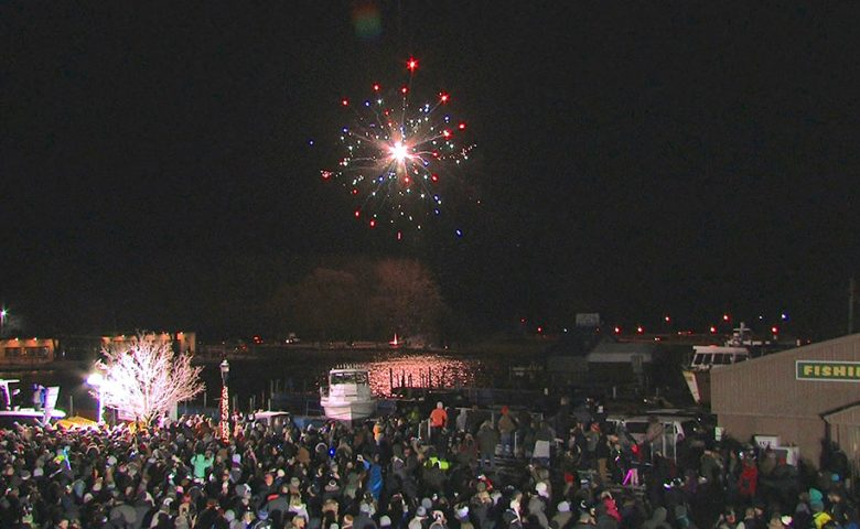Image of crowd during a fireworks show at the 2020 New year's celebration