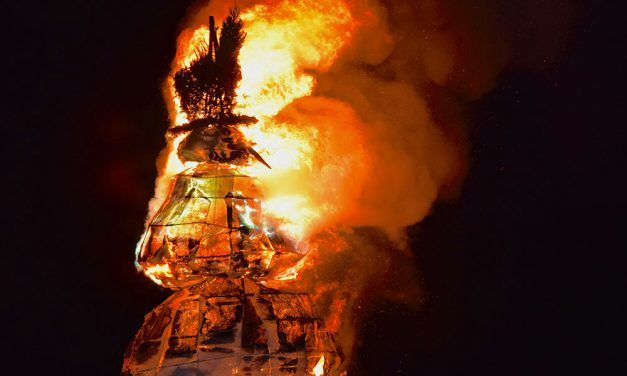 Burning Snowman heats up frigid Lake Erie shoreline with hot party