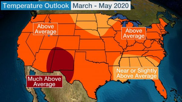 Image of temperature outlook map