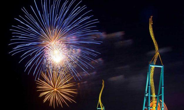 Cedar Point fireworks a parking lot show